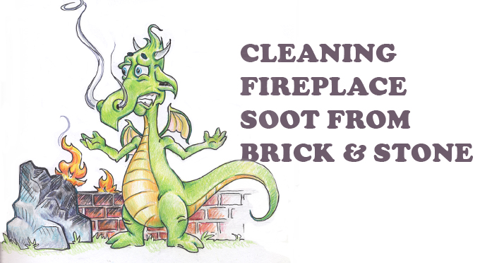 cleaning fireplace soot from brick and stone