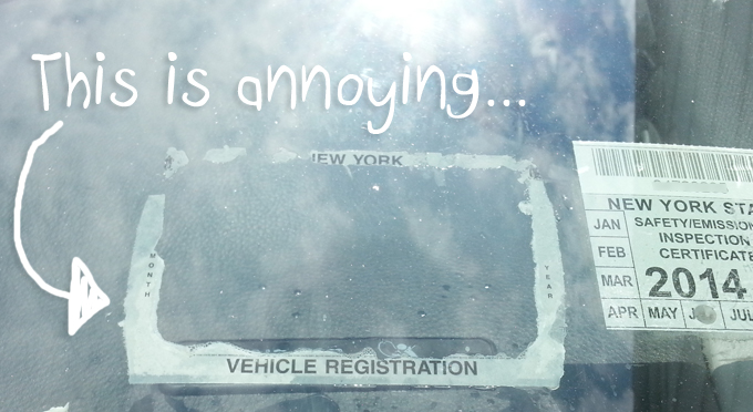 Remove registration or inpection sticker