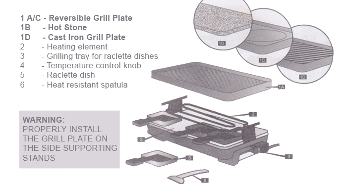 raclette grill parts