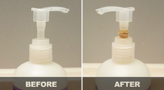 use less hand soap before and after